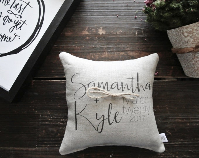Ring Pillow, Personalized Ring Bearer Pillow, Custom Ring Cushion, Ring bearer pillow, linen ring, Linen Ring bearer Pillow, Custom Cushion