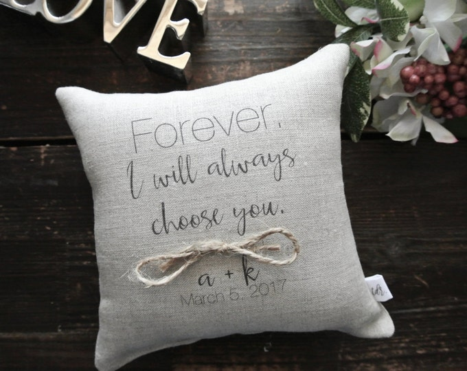 Ring Pillow, Personalized Ring Bearer Pillow, Custom Ring Cushion, Ring bearer Pillow, Custom Ring pillow, Linen Ring bearer Pillow, Wedding