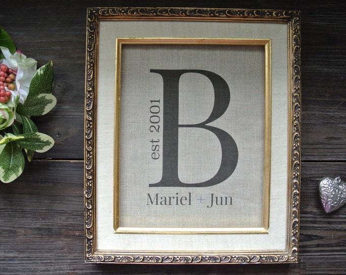 Personalized Print, Monogram Print, Rustic wedding, Anniversary Print, Linen Print, 2nd Anniversary Gift, Wedding shower gift, Linen