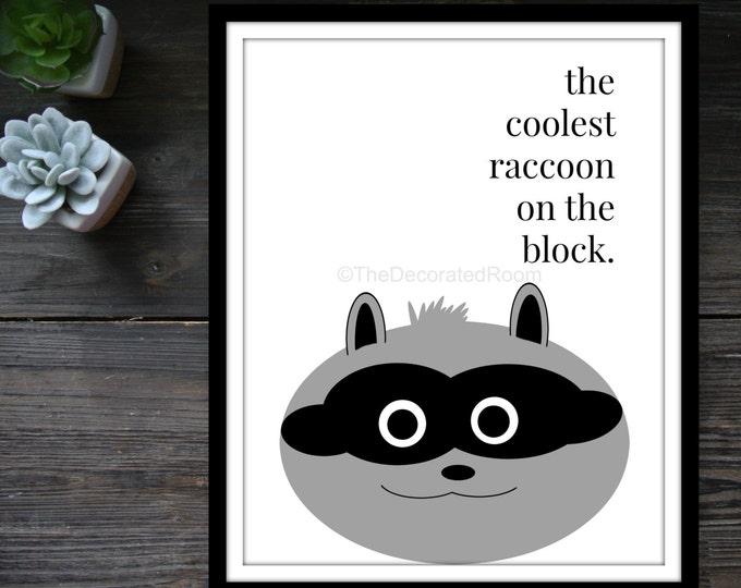 Custom Graphic Print, Black and White Print, Raccoon Print, Racoon Print,  Printable Nursery Art, Modern Nursery Decor, Printable Art