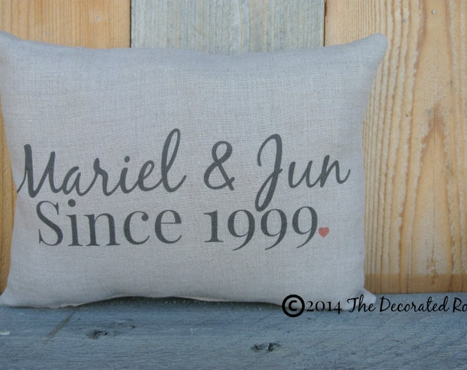 Wedding Day Pillow, Name Date Pillow, shower gift pillow, Personalized Pillow, Couples, anniversary pillow, 2nd Anniversary Gift, Wedding