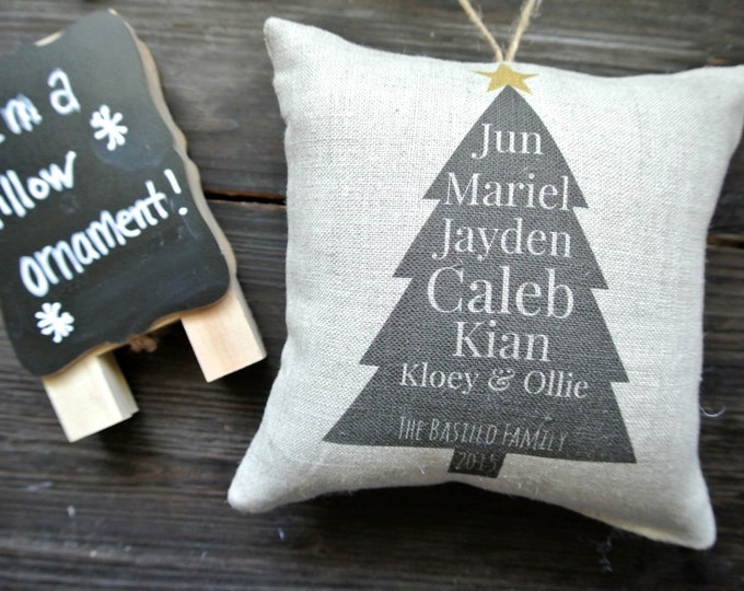 Personalized Ornament, Tree Ornament, Family Name Ornament, Rustic Christmas, Personalized Pillow Ornament, Personalized Pillow