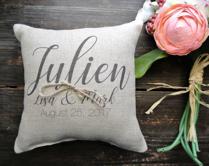 Ring Pillow, Personalized Ring Bearer Pillow, Ring Bearer Pillow, Personalized Ring Holder, Rustic Wedding, Ring Pillow, Ring cushion
