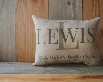Personalized Pillow, Custom Pillow, Housewarming Gift, anniversary pillow, Wedding Day Pillow, Name Pillow, Wedding gift pillow, Family Name
