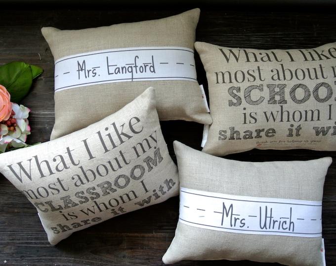Double Sided Teacher Pillow, Name Pillow, Linen Pillow, Personalized Pillow, End of Year Teacher gift, Teacher Appreciation, Principal Gift