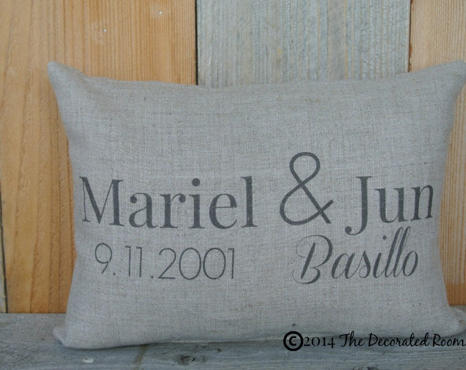 Personalized Anniversary Pillow, Wedding Day Pillow, Couples Pillow, Wedding Shower gift, Personalized linen Pillow, Anniversary Date Pillow