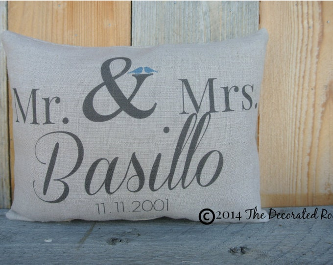Personalized Pillow, Wedding Day Pillow, Name Date Pillow, shower gift pillow, Personalized Pillow, Couples, anniversary pillow, linen