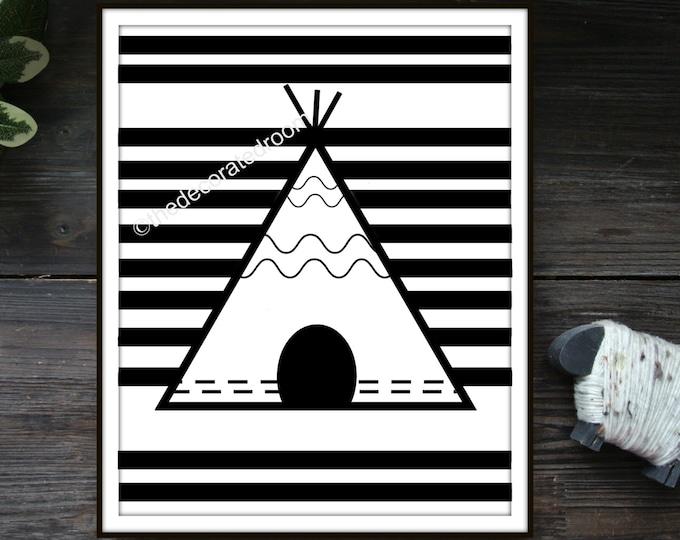 Teepee Printable Art, printable, Instant Download Art, Printable Nursery Art, Striped Printable Art, Nursery Decor, Tribal Printable, Modern