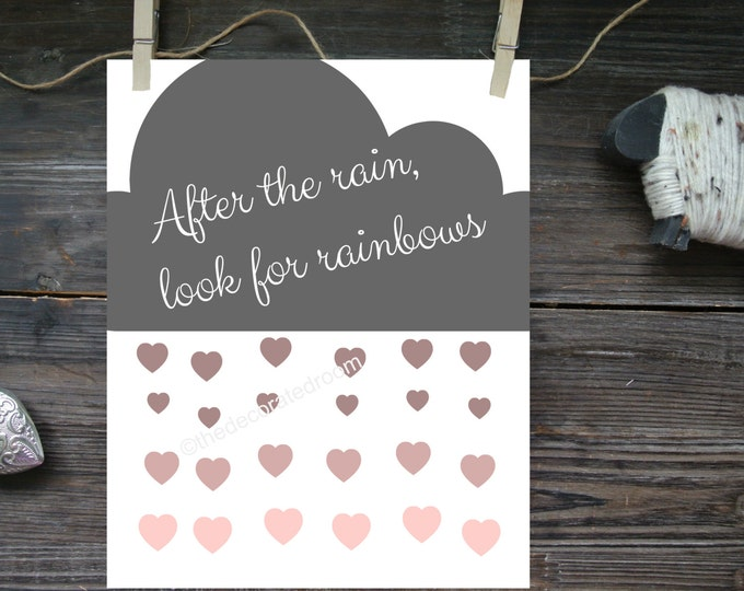 Cloud Art, Custom Graphic Print, Boho Chic decor, Nursery Art, Modern Nursery Decor, Graphic printable, Heart Print, Cloud with hearts Print