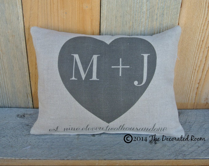 Personalized Pillow, Wedding Day Pillow, Name Date Pillow, shower gift pillow, anniversary pillow, heart pillow, 2nd anniversary Gift, Linen