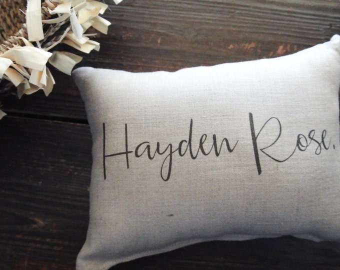 Personalized Name Pillow, Baby shower gift, Child's Name Pillow, Personalized Baby Pillow, Birth Announcement Pillow, baby photo prop