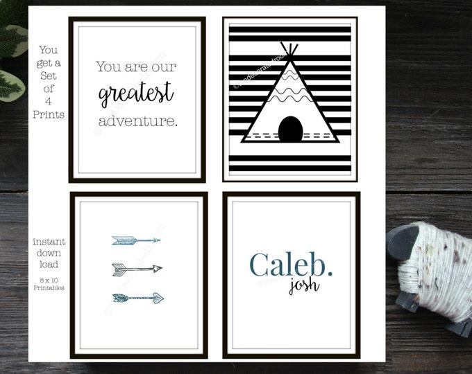 Printable, Set of 4 Printable Nursery Art, Teepee Printable Art, Personalized Printable Art, Nursery Decor, Tribal Printable, wall art, 8x10