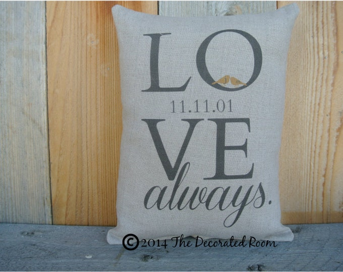 Personalized Pillow, Wedding Day Pillow, Name Date Pillow, shower gift pillow, Couples, anniversary pillow, Love Pillow, 2nd Anniversary