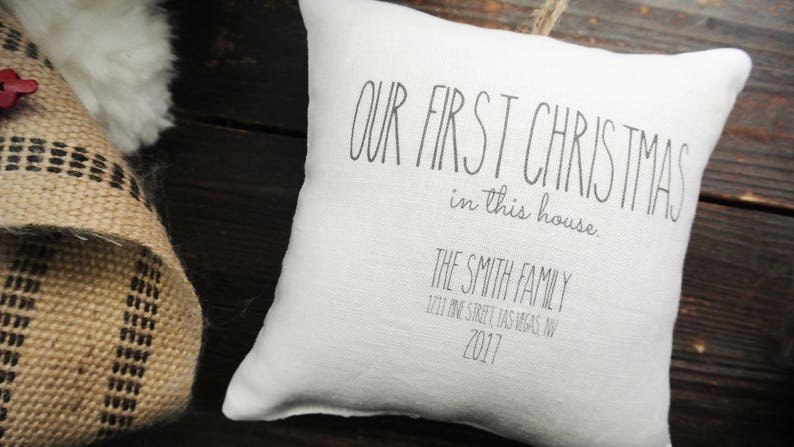 Custom First Christmas ornament Rustic Christmas Linen Pillow First Christmas in this house Ornament Personalized Christmas ornament