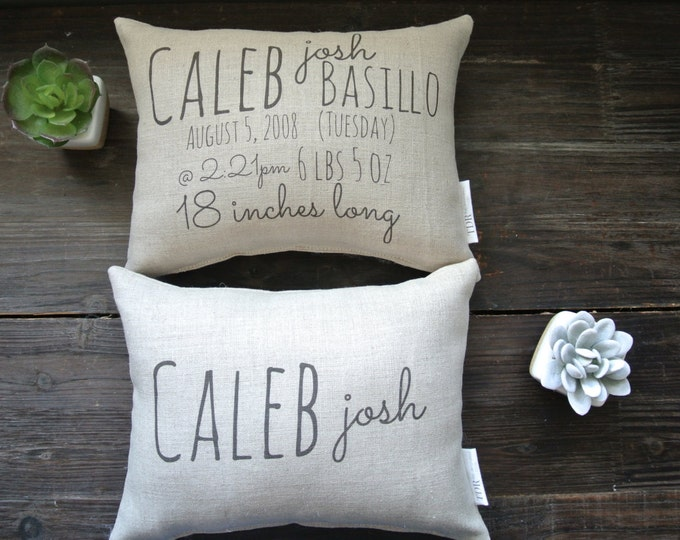 Birth Stat Pillow, Birth Announcement Pillow, Double Sided Birth Pillow, Personalized Pillow, Baby Shower Gift, Personalized Baby pillow