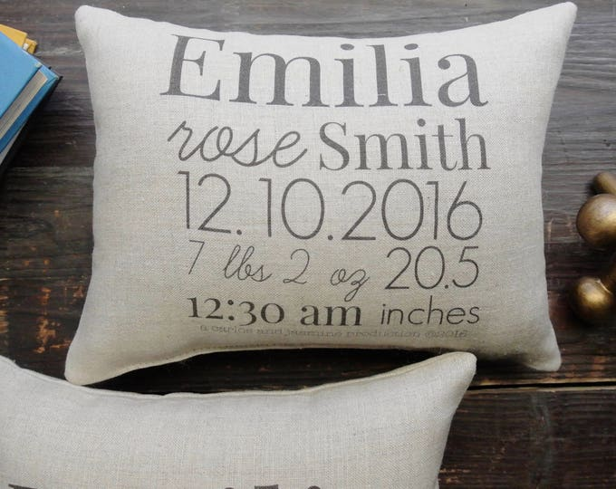Birth Announcement Pillow, Custom Birth Stat Pillow, Custom Birth Pillow, Personalized Pillow, Baby Shower Gift, Personalized Baby pillow,