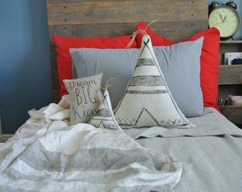 Teepee Pillow Set, Set of 3, Tipi Pillow, Tepee Pillow, Triangle Pillow, Personalized Pillow, Linen Pillow, Nursery Pillow, Baby Shower gift