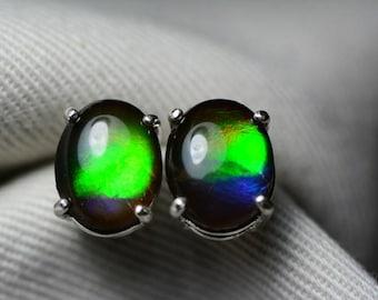 Ammolite Earrings, Rainbow Ammolite Stud Earrings, Sterling Silver, 10x8mm Oval Cabochon, Alberta Canada Jewelry Jewellery, Pair #58