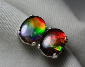 Ammolite Earrings, Ammolite Stud Earrings, Sterling Silver, 10x8mm Oval Cabochon, Alberta Canada Jewelry Jewellery, Pair #60