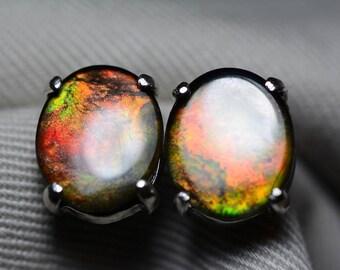 Ammolite Earrings, Ammolite Stud Earrings, Sterling Silver, 12x10mm Oval Cabochon, Alberta Canada Jewelry Jewellery, Pair #75