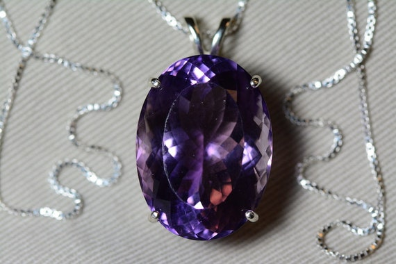 0.95 Carat Genuine Amethyst Cabochon Pendant On Necklace 6mm Round With Fabulous Purple Color Hand Set In Sterling Silver Mountings