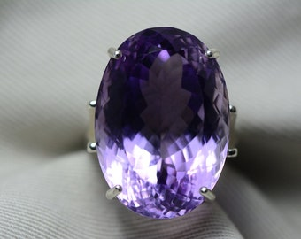 Amethyst Ring, Certified 34.98 Carat Amethyst Silver Solitaire Appraised At 1,750.00 Real Genuine Natural February Birthstone Jewelry