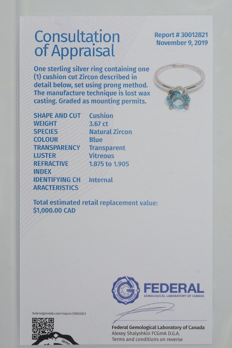 Blue Zircon Ring Certified 3.67 Carats Solitaire Appraised At 1,000.00 Sterling Silver Real Genuine Natural December Birthstone Jewelry