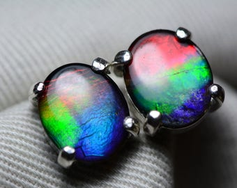 Ammolite Earrings, Rainbow Ammolite Stud Earrings, Sterling Silver, 11x9mm Oval Cabochon, Alberta Canada Jewelry Jewellery, Pair #66