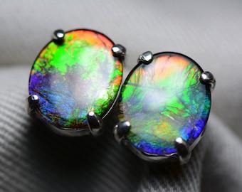 Ammolite Earrings, Rainbow Ammolite Stud Earrings, Sterling Silver, 12x10mm Oval Cabochon, Alberta Canada Jewelry Jewellery, Pair #82
