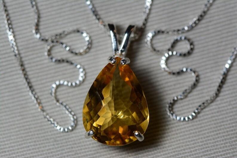 Pear Certified 9.27 Carat Citrine Pendant Appraised 450.00 Sterling Silver Genuine Natural Real November Birthstone Citrine Necklace