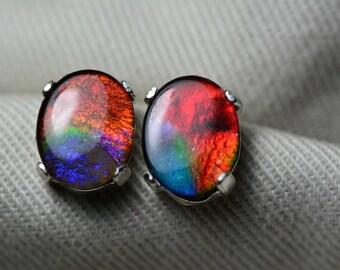 Ammolite Earrings, Ammolite Stud Earrings, Sterling Silver, 10x8mm Oval Cabochon, Alberta Canada Jewelry Jewellery, Pair #48