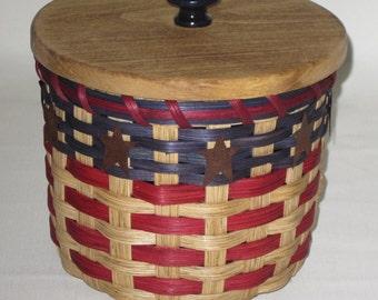 Lidded Toilet Paper Basket  Single Roll  Storage Basket Americana Canister  Basket
