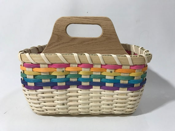 New Primitive COUNTRY LIVING Tan Wood Divided Caddy Basket Pencil Box