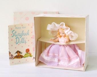 "Vintage Nancy Ann Storybook doll, Maiden Gay #175, box, booklet, 1950s plastic 5.5"" NASB Story Book fashion doll, sleepy eyes, Nursery Rhyme"
