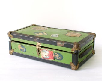 Antique doll trunk, child's suitcase, green tin metal over wood, travel sticker labels, miniature travel trunk, jewelry box, Cass Toys