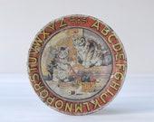 Antique tin litho ABC Kittens plate, Ohio Art Co., 1920s, distressed, primitive, 4-1 4 quot alphabet, children 39 s toy tea set, cats, knitting