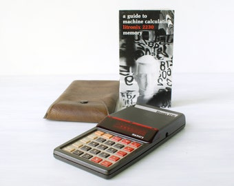 Vintage Lintronix 2230R calculator, with vinyl case and instruction booklet, as is, 1970s, red LED, Cupertino, California, science nerd gift