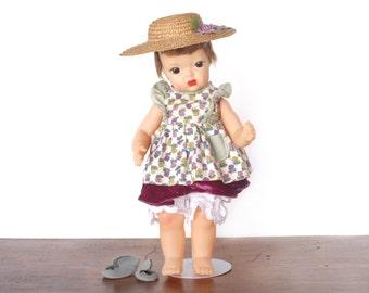"Vintage Terri Lee doll, Patent Pending 16"" hard plastic, early 1950s, homemade Southern Belle dress, felt shoes, straw hat, brunette wig"
