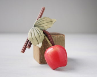 Vintage Bakelite cherry and leaves brooch, green and red pin, 1940s 1950s, midcentury, figural, fruit, pin up jewelry, extruded branch
