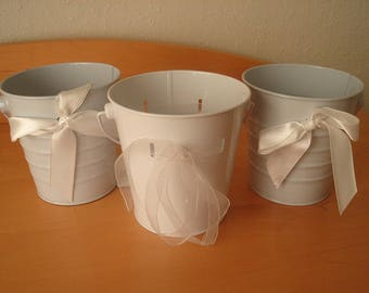3 Assorted White Painted Buckets / Pails