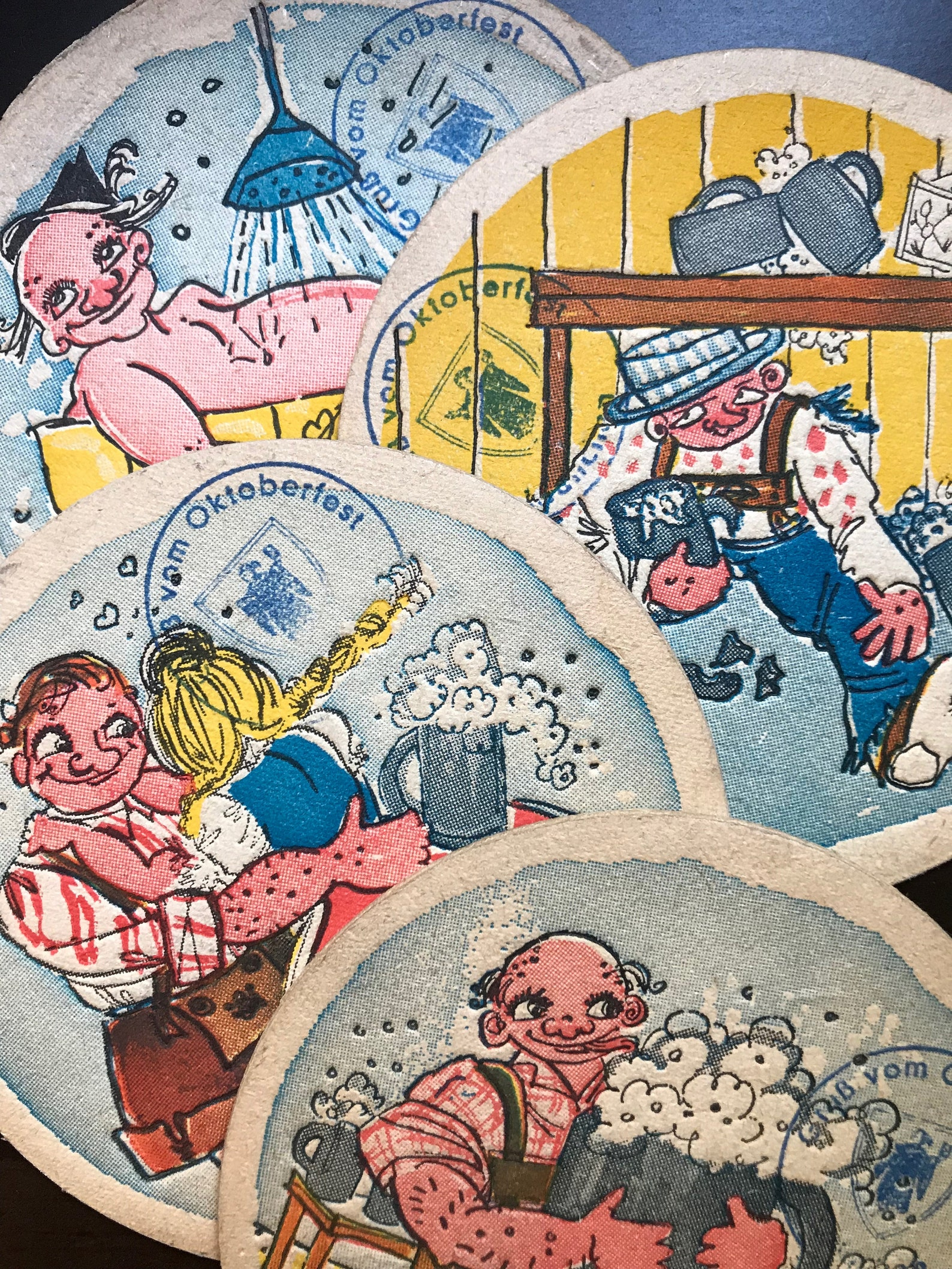 Set of 4 vintage pressed paper Oktoberfest beer coasters, funny charming illustrations Bierdeckel