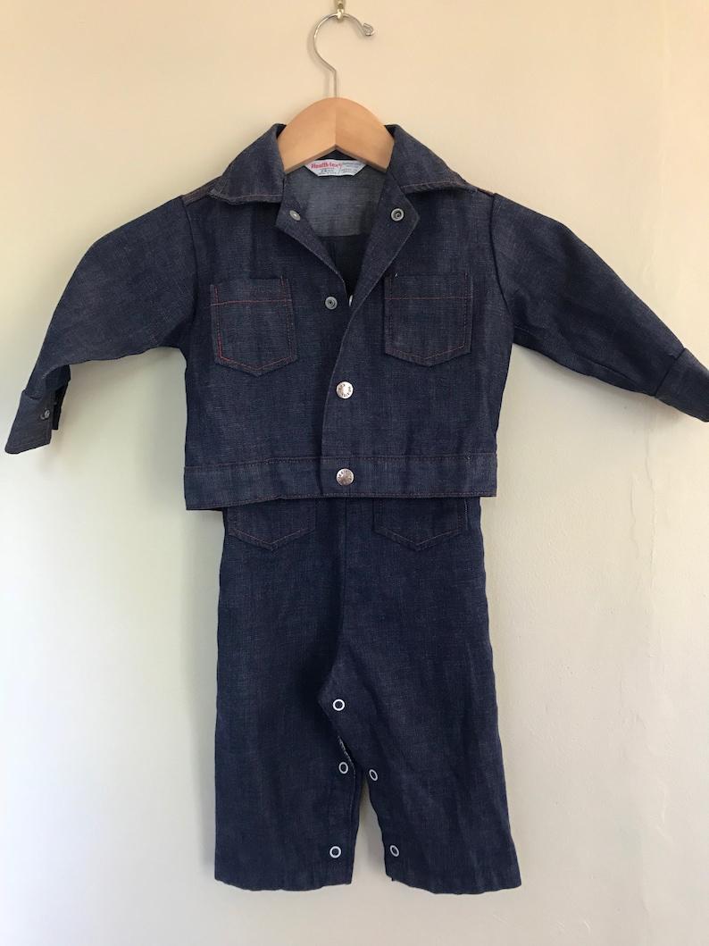 Stantogs 24 months Vtg 1970s Healthtex overalls and denim jacket matching set snaps denim with red stitching