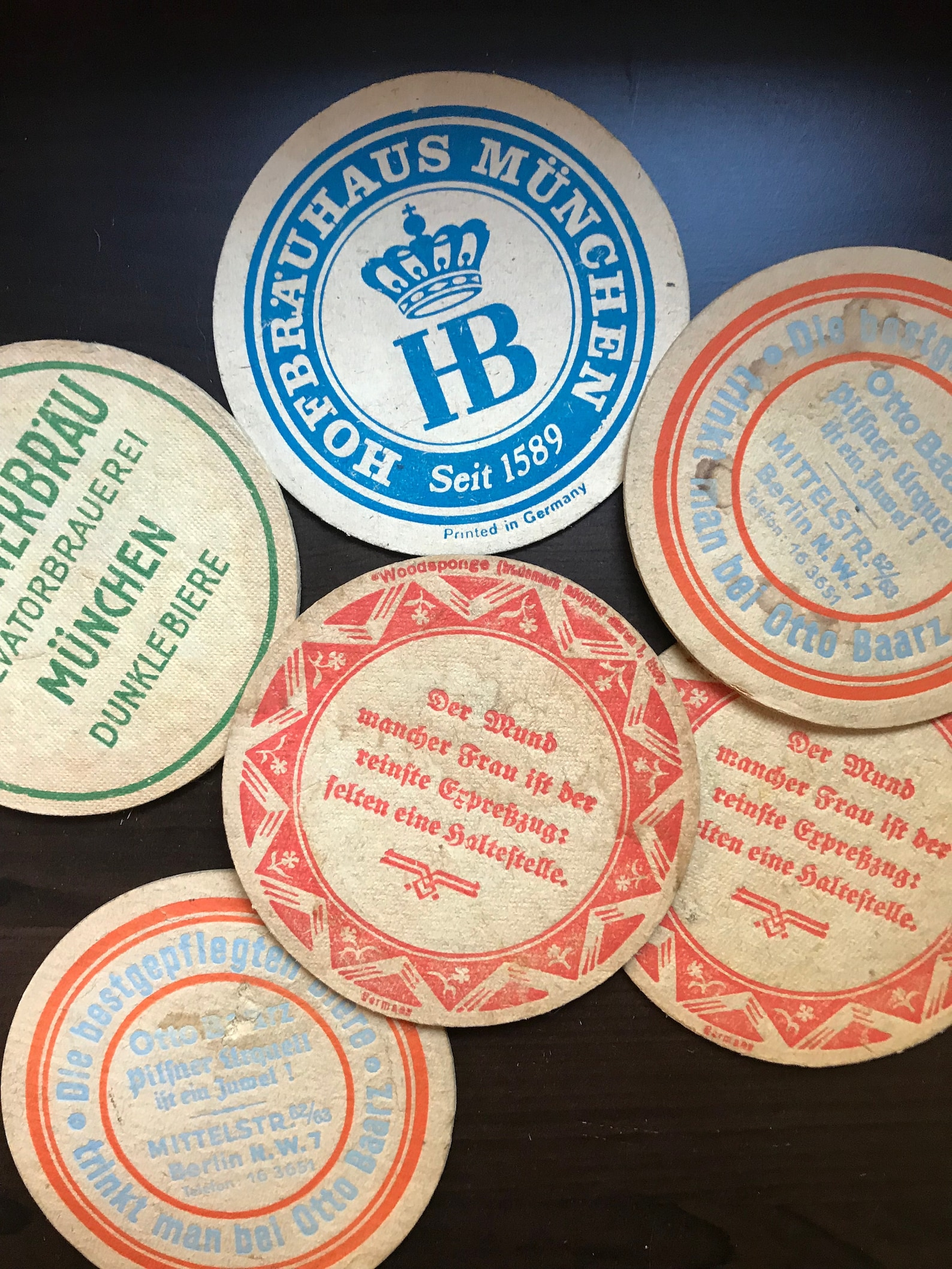 Lot of 6 vintage pressed paper Oktoberfest beer coasters, Bierdeckel, varied Berlin and Munich