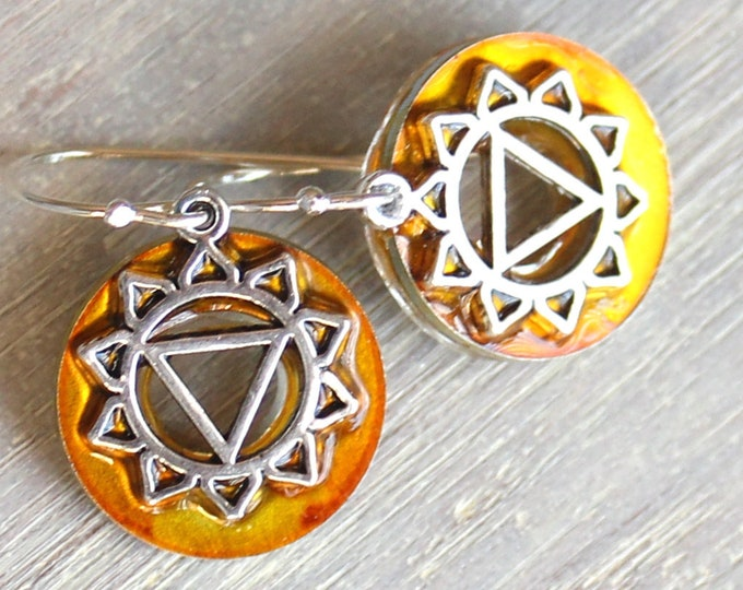 Manipura third chakra earrings on sterling silver ear wires