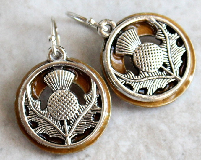 golden Scottish thistle earrings on sterling silver ear wires
