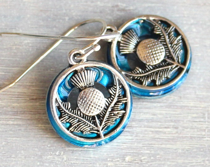 sky blue Scottish thistle earrings on sterling silver ear wires