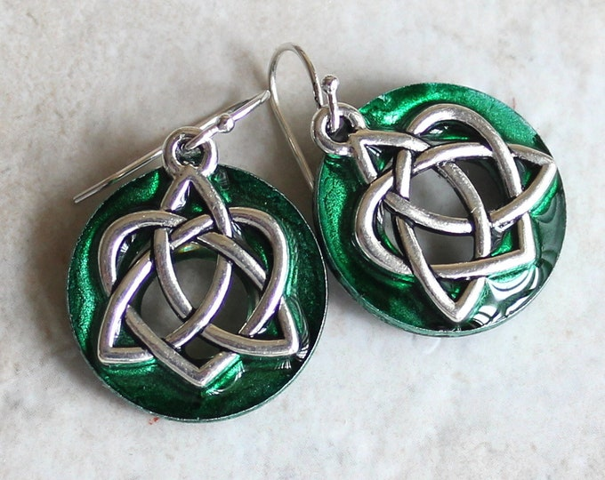 forest green Celtic sister knot earrings on sterling silver ear wires