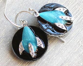 spaceship earrings on sterling silver ear wires