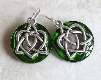 green Celtic sister knot earrings on sterling silver ear wires