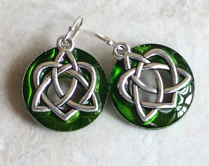 green Celtic sister knot earrings on sterling silver ear wires